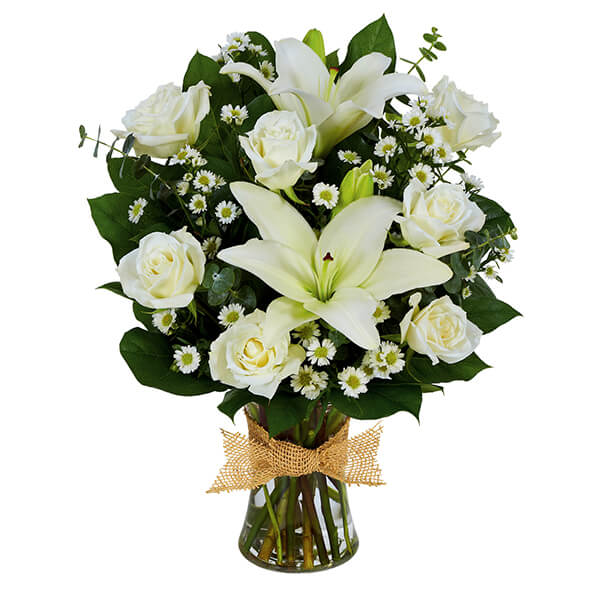 Tribute Mixed Vase Arrangement - All White