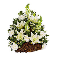Classic Fireside Sympathy Basket - All White
